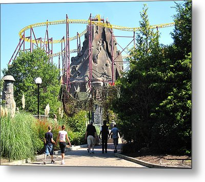 Kings Dominion - Volcano - 12123 Metal Print by DC Photographer