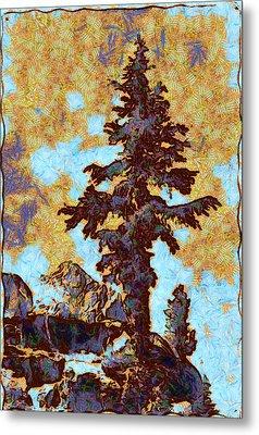 Kings River Canyon Colorized Metal Print by Ansel Adams
