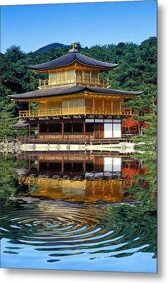 Kinkakuji Gold Pavilion Reflection Metal Print by Robert Jensen