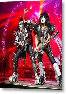 Kiss - 40th Anniversary Tour Live - Simmons And Stanley Metal Print by Epic Rights