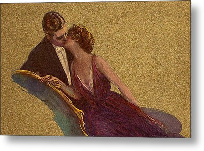 Kissing On The Chaise-longue Valentine Metal Print by Sarah Vernon