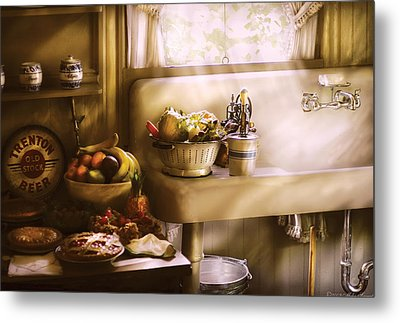 Kitchen - A 1930's Kitchen  Metal Print by Mike Savad
