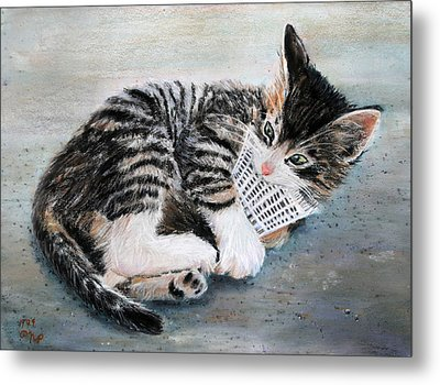 Kitten With Birdie Metal Print by Nick Payne