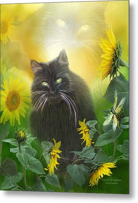 Kitty In The Sunflowers Metal Print by Carol Cavalaris
