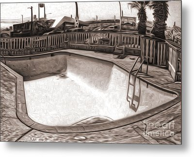 Kiva Motel -  Empty Pool Metal Print by Gregory Dyer
