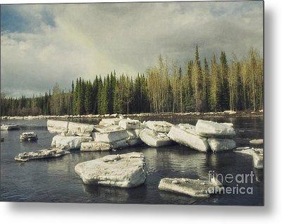 Klondike River Ice Break Metal Print by Priska Wettstein