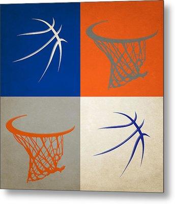 Knicks Ball And Hoop Metal Print by Joe Hamilton
