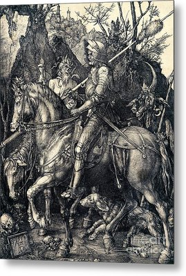 Knight Death And The Devil Metal Print by Albrecht Durer