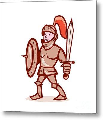 Knight Shield Sword Cartoon Metal Print by Aloysius Patrimonio