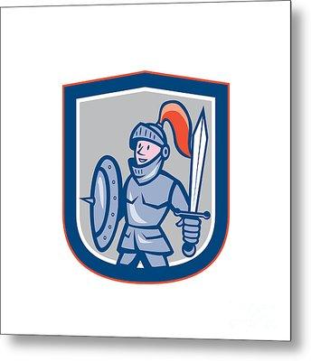Knight Shield Sword Shield Cartoon Metal Print by Aloysius Patrimonio