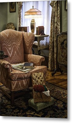 Knitting And Reading Materials Metal Print by Lynn Palmer