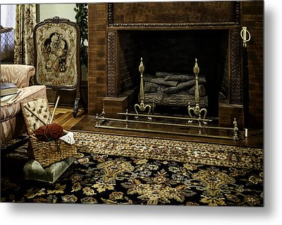 Knitting In Front Of A Vintage Fireplace Metal Print by Lynn Palmer