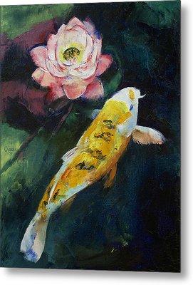 Koi And Lotus Flower Metal Print by Michael Creese