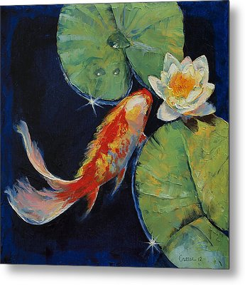 Koi And White Lily Metal Print by Michael Creese