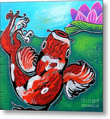 Koi Fish And Water Lily Metal Print by Genevieve Esson