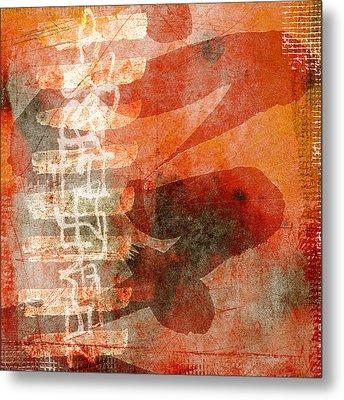 Koi In Orange Metal Print by Carol Leigh
