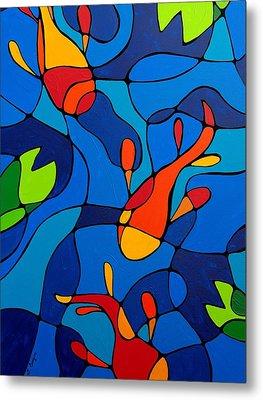 Koi Joi - Blue And Red Fish Print Metal Print by Sharon Cummings
