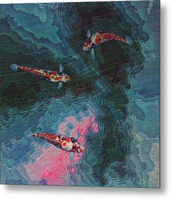 Koi Water Garden  Metal Print by Jack Zulli
