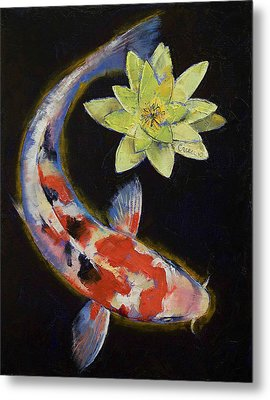 Koi With Yellow Water Lily Metal Print by Michael Creese