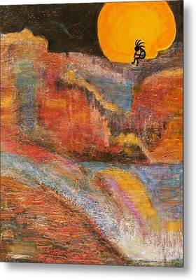 Kokopelli On A Marmalade Moon Night Revisited Metal Print by Anne-Elizabeth Whiteway