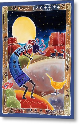 Kokopelli Sings Up The Moon Metal Print by Harriet Peck Taylor