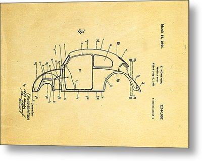 Komenda Vw Beetle Body Design Patent Art 1944 Metal Print by Ian Monk