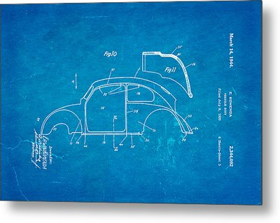 Komenda Vw Beetle Body Design Patent Art 2 1944 Blueprint Metal Print by Ian Monk