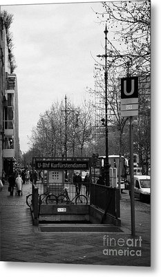 Kufurstendamm U-bahn Station Entrance Berlin Germany Metal Print by Joe Fox