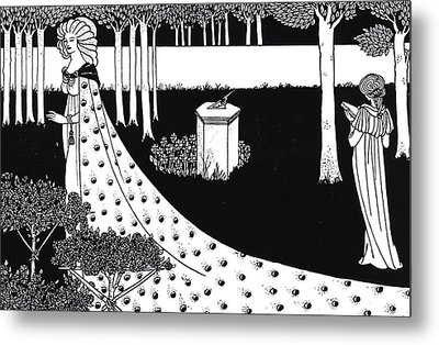 La Beale Isoud At Joyous Gard Metal Print by Aubrey Beardsley