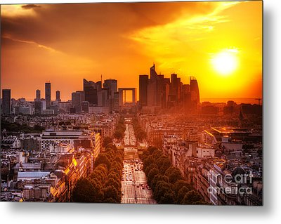 La Defense And Champs Elysees At Sunset Metal Print by Michal Bednarek
