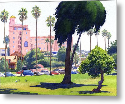 La Valencia Hotel And Cypress Metal Print by Mary Helmreich