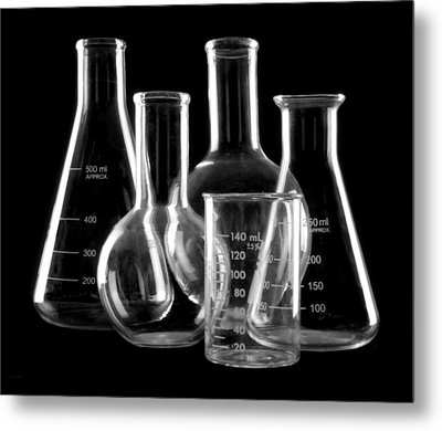 Laboratory Glassware Metal Print by Jim Hughes