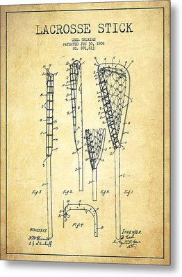 Lacrosse Stick Patent From 1908 - Vintage Metal Print by Aged Pixel