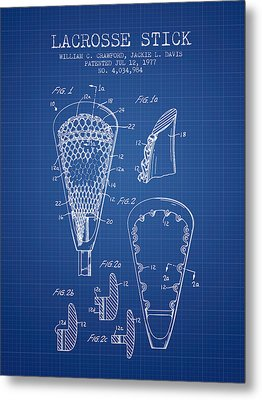Lacrosse Stick Patent From 1977 -  Blueprint Metal Print by Aged Pixel