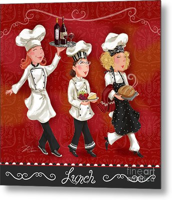 Lady Chefs - Lunch Metal Print by Shari Warren