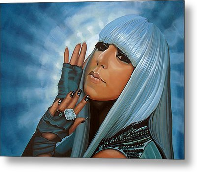 Lady Gaga Painting Metal Print by Paul Meijering