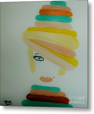 Lady In A Balloon Hat Metal Print by Marie Bulger
