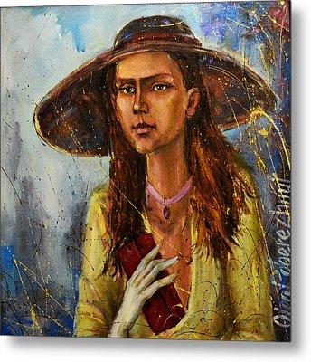 Lady In Hat Metal Print by Oleg  Poberezhnyi