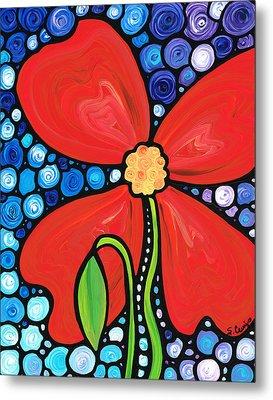 Lady In Red 2 - Buy Poppy Prints Online Metal Print by Sharon Cummings