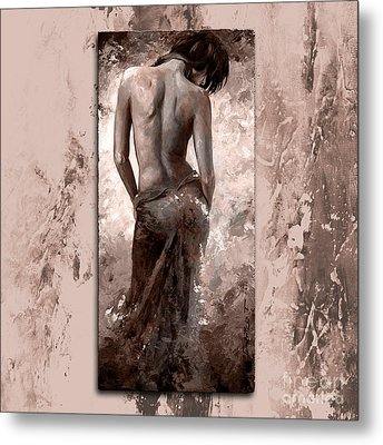 Lady In Red 27 Style Mistyrose Metal Print by Emerico Imre Toth