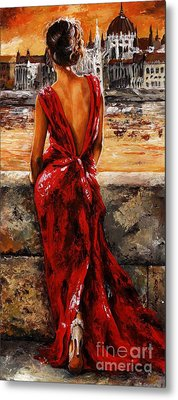 Lady In Red  34 -  I Love Budapest Metal Print by Emerico Imre Toth