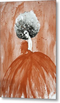 Lady In Red Metal Print by Esther Willsher
