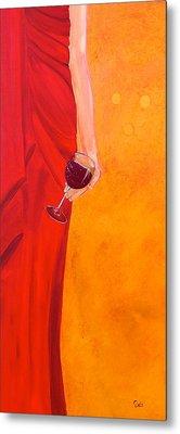Lady In Red Metal Print by Debi Starr