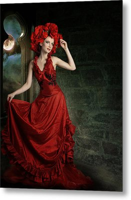 Lady In Red Metal Print by Ester  Rogers