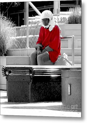 Lady In Red Metal Print by Lilliana Mendez