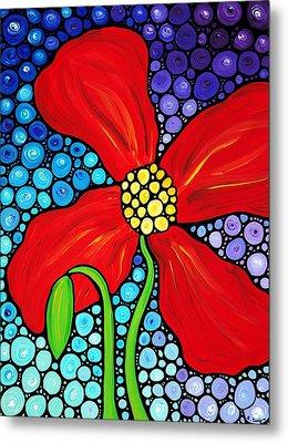 Lady In Red - Poppy Flower Art By Sharon Cummings Metal Print by Sharon Cummings