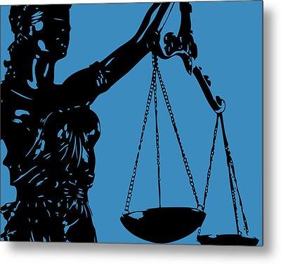 Lady Justice Blue Metal Print by Flo Karp