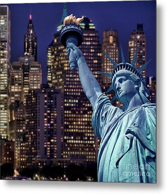 Lady Liberty By Night Metal Print by Delphimages Photo Creations