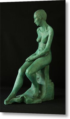 Lady On The Rock Metal Print by Flow Fitzgerald