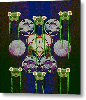 Lady Panda Welcomes Spring In Love And Light And Peace Metal Print by Pepita Selles
